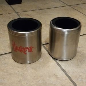 2 stainless steel beer/pop can/bottle coozies